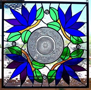 Stained Glass Window Panel Art Nouveau Vintage Plate photo