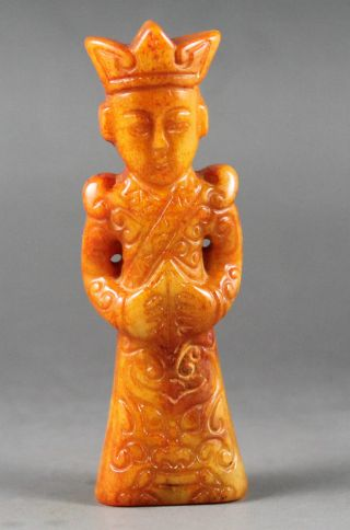 Old Chinese Hetian Jade Hand - Carved Jade Statue Ancient Man 3 Inch photo