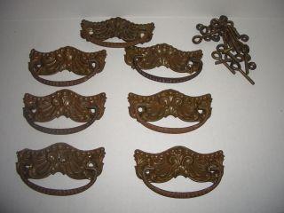 7 Antique Victorian Stamped Brass Drawer Pull Steel Handle Screw Vtg photo