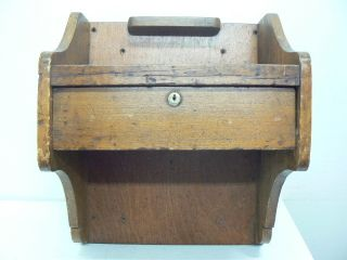 Small Antique Wall Mounted Oak 1 Drawer Telephone Handy Desk W/pencil Trough photo