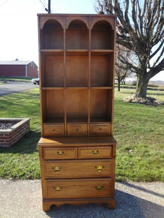 Vintage Mid - Century Modern Maple Cherry Hutch Bookshelf China Cabinet Cuboard photo
