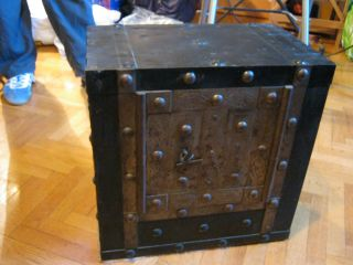 18th/19th Century Collectible Italian Antique Iron Safe Strong Box W/key photo
