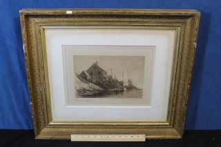 19thc Antique Hendricks Hallet Maritime Ferry Boat Fishing Ship Harbor Etching photo