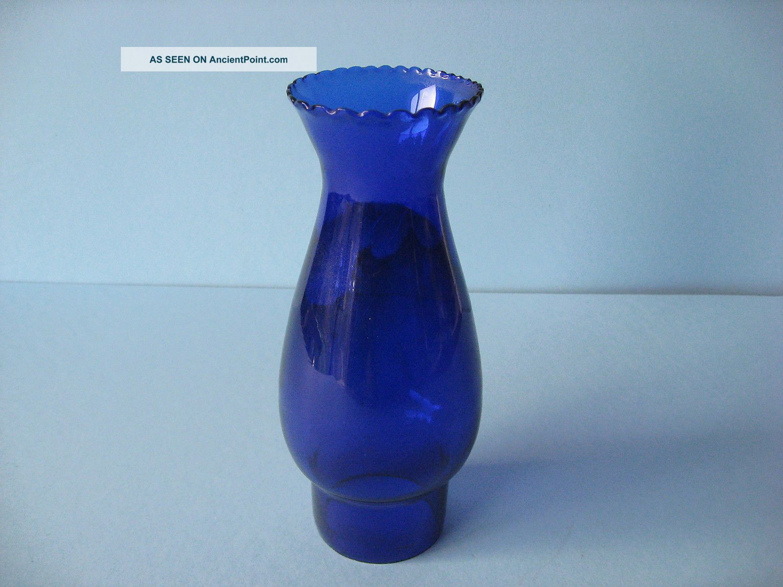 Blue Glass Funnel For Oil Lamp Vintage 20th Century photo