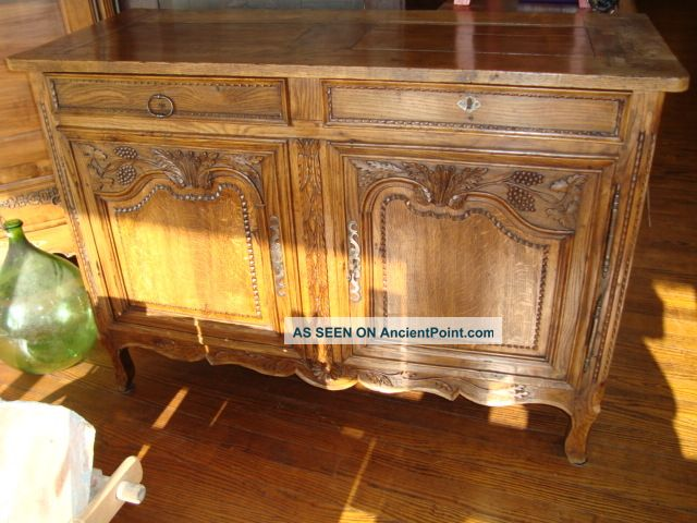 French Antique Provincial Buffet Sideboard Normandy,  Hand Carved Circa 1790 Pre-1800 photo