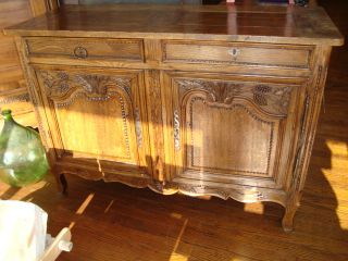 French Antique Provincial Buffet Sideboard Normandy,  Hand Carved Circa 1790 photo