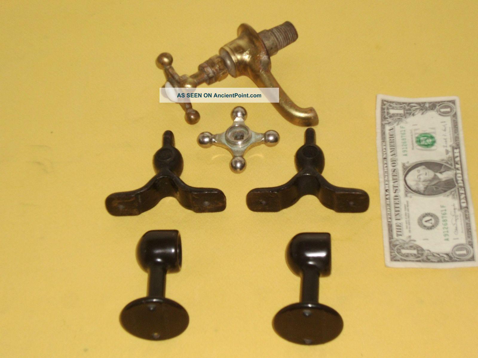 Antique 2 Pair Towel Bar Ends 1 Cast Iron&1blk.  Porcelain&brass Hot Faucet Sinks photo