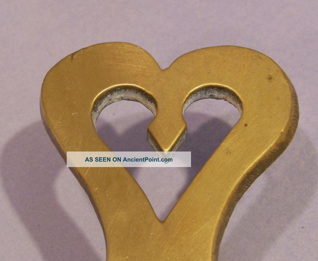 Antique Continental Brass Heart Trivet - Last Quarter 19th Century Trivets photo