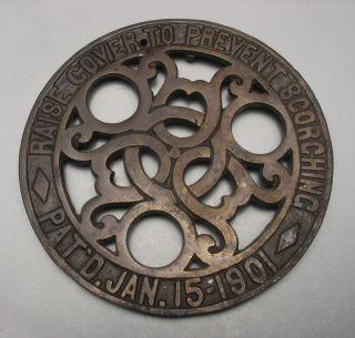 Antique Cast Iron Trivet Marked Pat ' D Jan 15 1901,  C 154 Rh photo