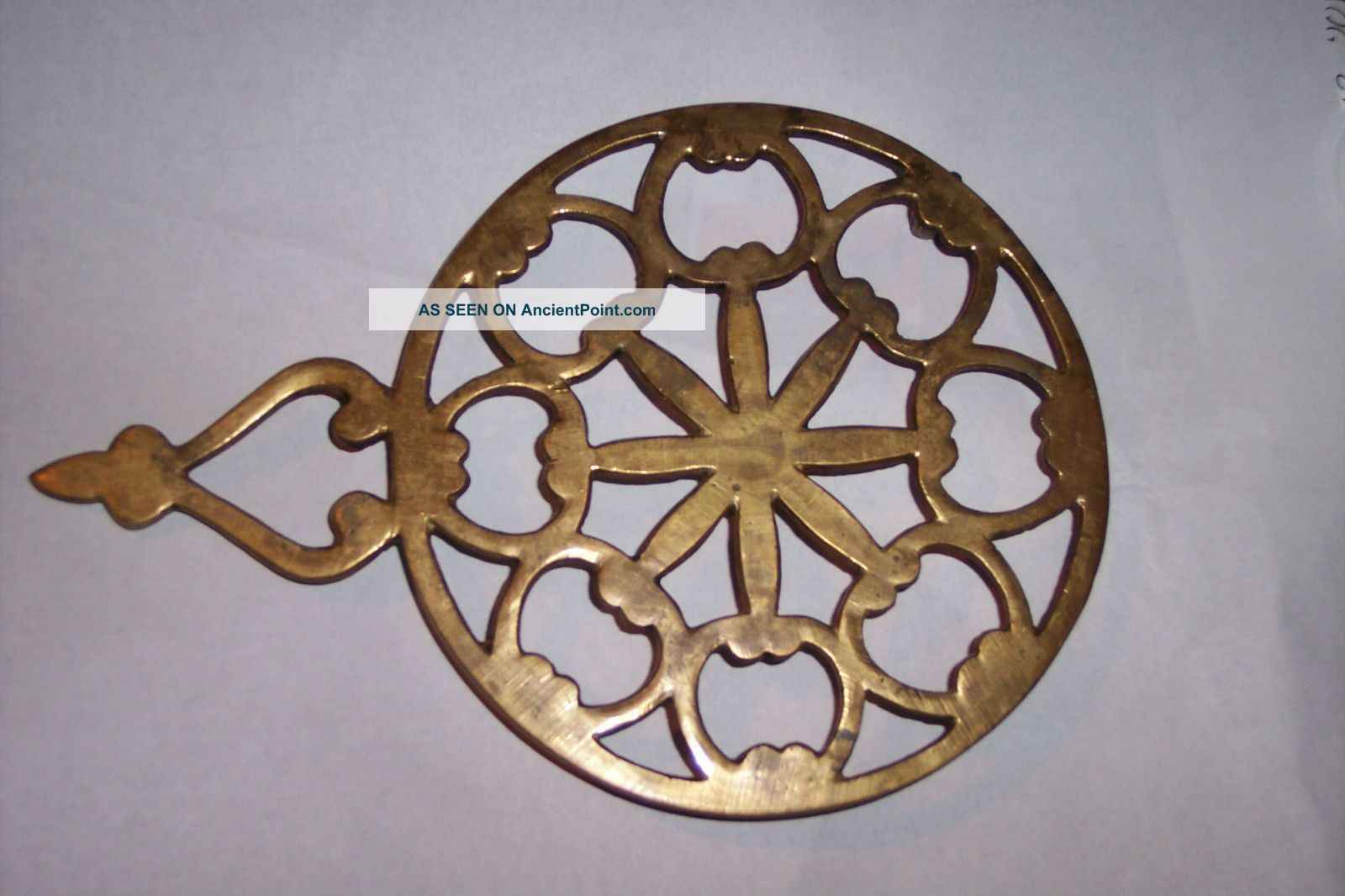 Antique Vintage Solid Brass Footed Trivet For Iron Rest Round With Handle Trivets photo