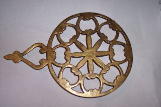 Antique Vintage Solid Brass Footed Trivet For Iron Rest Round With Handle photo