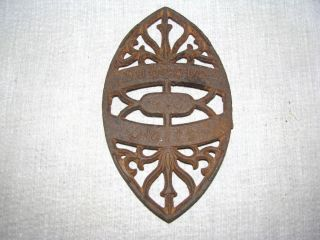 Antique Dubuque Potts Cast Iron Trivet & Iron Rest photo