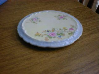 Vintage Antique Handpainted Trivet Floral W/ Blue Trim photo