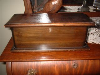Antique Primitive Wood Sewing Box Divided Compartment Tray Money Jewelry photo