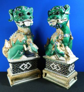 Pair Of Hand Painted Porcelain Chinese Foo Dogs Large & Heavy photo