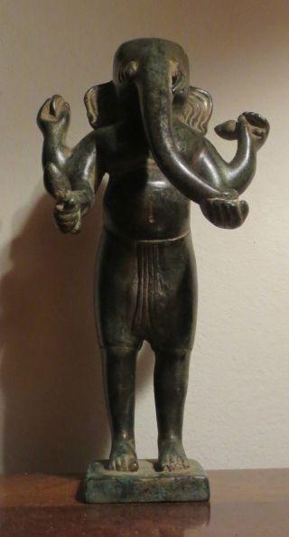 Bronze Statue Of Khmer Standing Ganesh From Cambodia photo