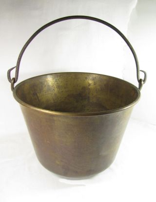 Antique Brass Hanging Pot,  Hearth Cooking,  Good Condition photo