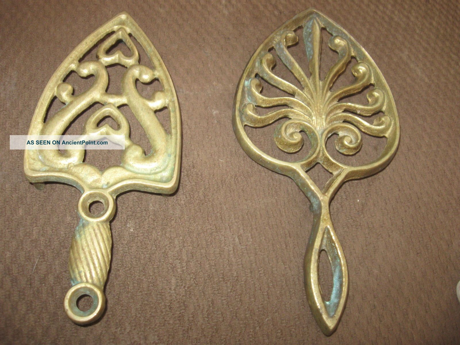 2 Vintage Cast Brass Trivet Hot Plate Iron Trivets photo