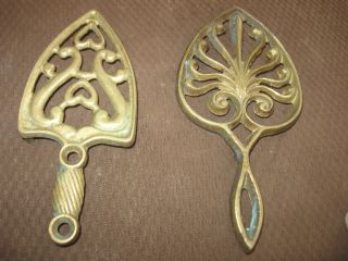 2 Vintage Cast Brass Trivet Hot Plate Iron photo