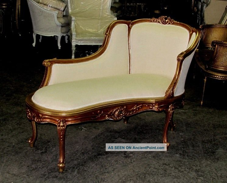 Gorgeous Gilt French Louis Xv Chaise Lounge Daybed Post-1950 photo