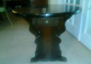 Oak Wood Gate Leg Drop Leaf Table (makes A Circle Shape) photo