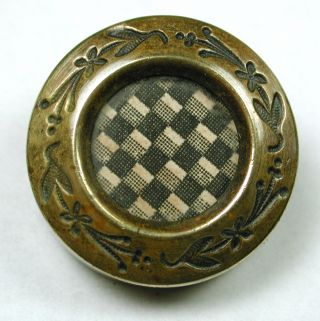 Antique Glass In Metal Button Victorian Drum W/ Women Pattern Design photo
