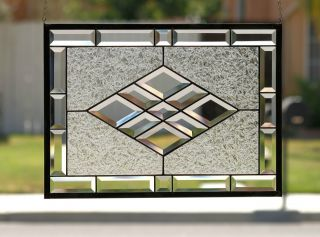 Beveled Diamonds V Large Clear Stained Glass Window Panel With Faceted Bevels photo