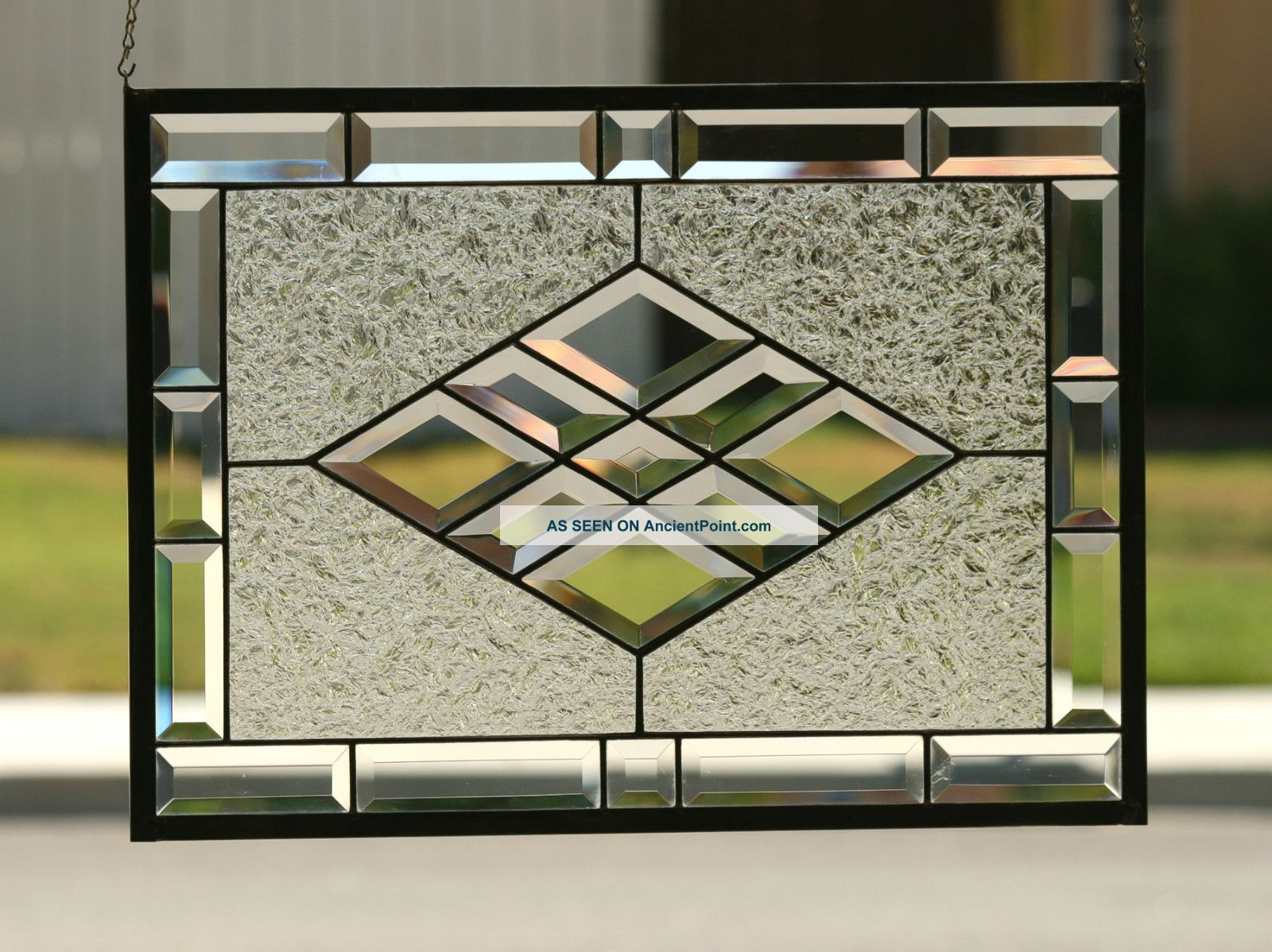beveled diamonds v large clear stained glass window panel wi