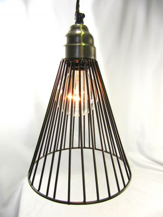 Hanging Pendant Light Chandelier Pewter Finish Wire Cage Design photo