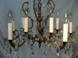 10 Light Brass Chandelier With Cut Glass Crystals photo