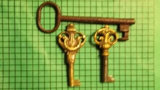 3 Antique Ornate Keys Imported photo