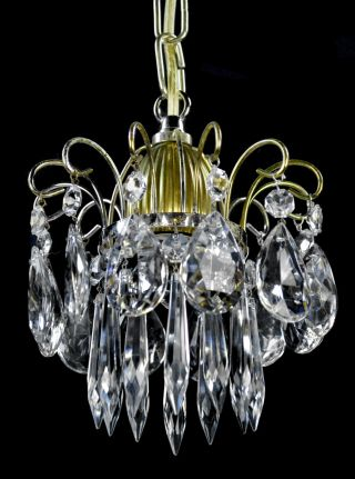 Antique Crystal Chandelier Light Ornate Crown Bronze Brass Old Hanging Pendant photo