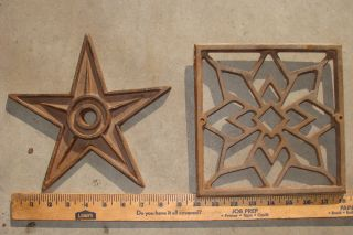 Vintage Cast Iron Star,  Cast Iron Square Hearts Pattern,  Art,  Rustic Deco,  Farm photo
