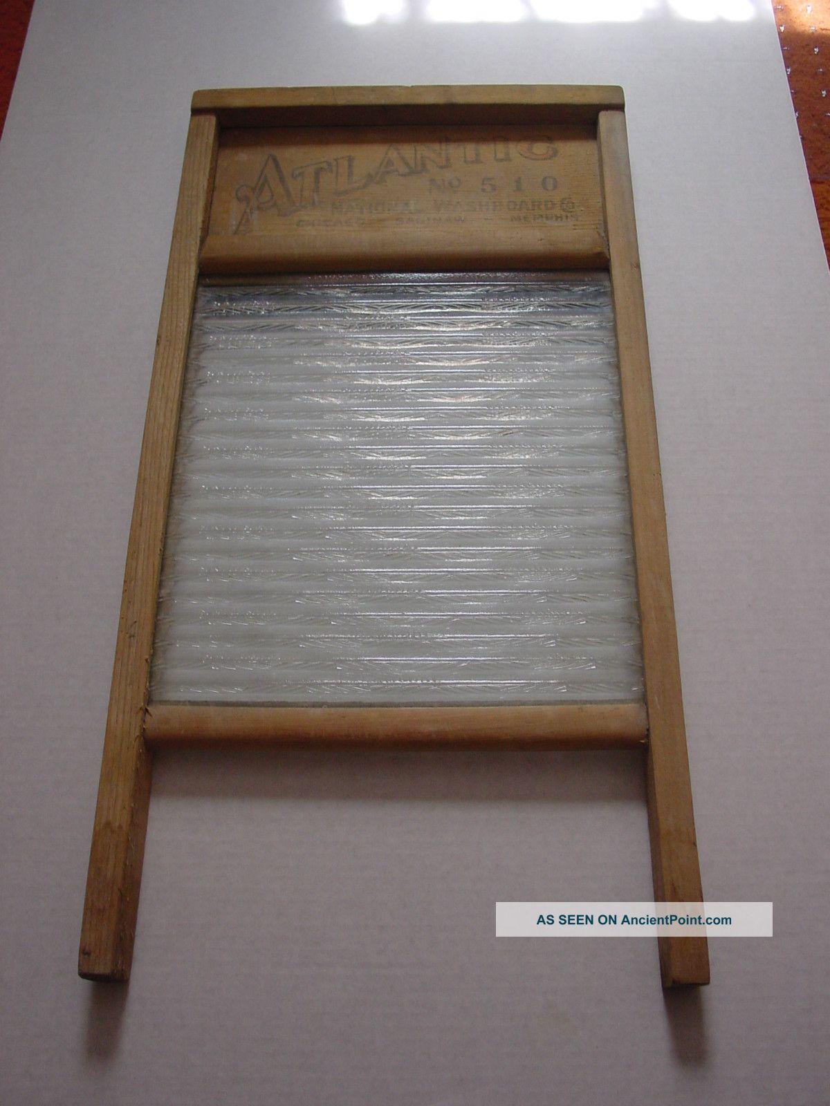 Atlantic National Glass Washboard No.  510 Chicago Memphis Saginaw 12.  5