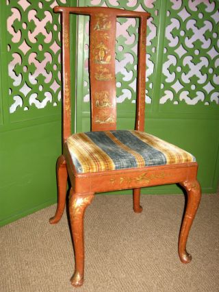 Hollywood Regency Queen Anne Polychrome Decorated Occasional Side Dining Chair photo