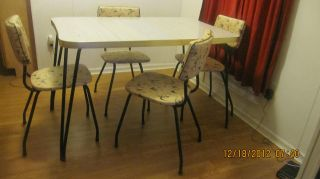 Mid Century Modern Atomic Eames Hairpin Formica Table With Four Chairs photo