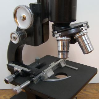 Ao Spencer Monocular Microscope 10x Wf Ocular,  3 Objectives Jarrell & Ash Boston photo