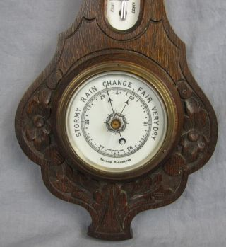 Antique English Aneroid Barometer & Thermometer Porcelain Faces photo