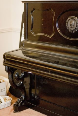 Upright Black Ebony Piano 1869 German photo