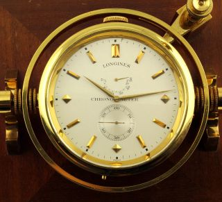 Longines Unusual 2 - Day Display Deck Watch Up And Down Chronometer Rare photo