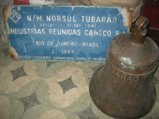 Marine Vintage Heavy Brass Bell & Nameplate From Brazil Ship