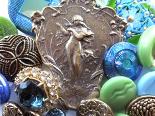 Buttons Mix Vintage & New Glass Metal Rhinestones. .  Green & Blue Gold photo