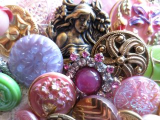 Buttons Mix Vintage & New Glass Metal Rhinestones Pinks Lavender Green photo