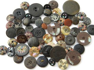 61 Antique Vintage Buttons Victorian Old Picture Fleck Silver Pearl Inlay Wood photo