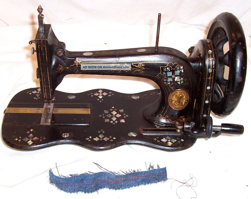 Antique 1871 Ornate Mother Pearl Singer 12k Treadle Sewing Machine Works C - Video Sewing Machines photo