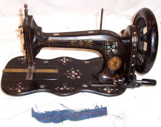Antique 1871 Ornate Mother Pearl Singer 12k Treadle Sewing Machine Works C - Video photo