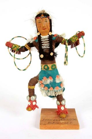 John Bear Medicine - Black Foot Native American - Hand Sewn Leather Doll photo
