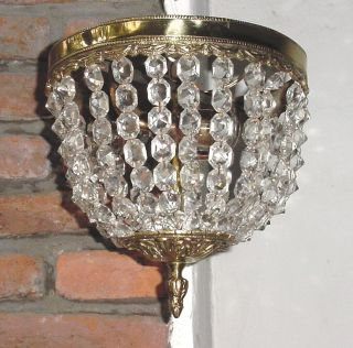 Antq Bronze Crystal Beads Chandelier Ceiling Sconce 10