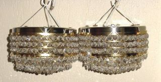 Old Bronze Crystal Czech Beaded Pair Ceiling Sconces 8