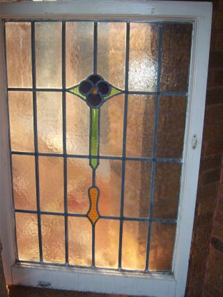 Tall Flower Antique Stained Glass Window 3 Vibrant Colors,  Size 26